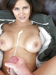 HotWifeRio drives a fan  back to her house topless then eats a huge load of cum