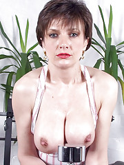 Thong leotard busty oiled milf babe