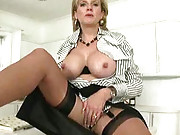 Teasing big tits mature babe sonia