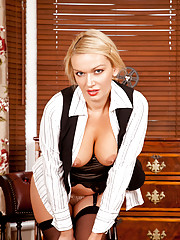 Classy Anilos Amber Jayne gets wild exposing her huge breasts and slick pussy