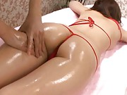 Saki Tsuji Asian has ass oiled and pink thong between ass cheeks