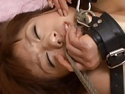 Yuka Osawa Asian in belts has oiled melons massaged by other babe