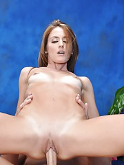 Naughty girl Sheena fucks her massage client after a rub down!