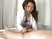 Sayuri Meike Asian with white shirt and cut stockings rubs penis
