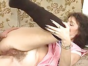 Hairy mature pussy gets licked
