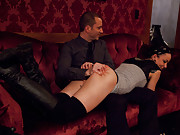 The winner savors and pleases herself with the gentlemans cocks, while the loser is brutally whipped, berated, and punished with a rough fucking.