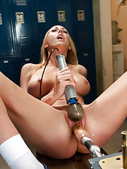 Tall, thin blond with big tits machine fucking and cumming all over stiff robot cock. She flexes every muscle as her body tightens in climax.