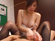 Miyuki Yokoyama rides phallus through nylon ripped stockings