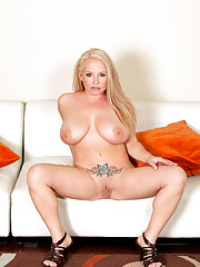 Blonde Anilos Rachel love teasingly removes her sexy red dress exposing her nude flesh