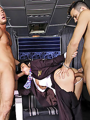 2 super hot big tits brunette flight attendants fucked hard in 1st class awesome group sex fucking cumfaced 4 video set