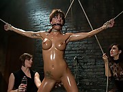 Gia DiMarco squirts buckets of cum while fucked and shocked by Princess Donna and Bobbi Starr
