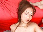 Miho Maeshima Asian with nude boobs gets big sex toy in vagina