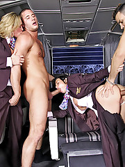 2 flight attendant babes fucked hard in these first class power fuck group sex party