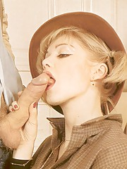 Blonde retro babe enjoys big cock inside her tight slit