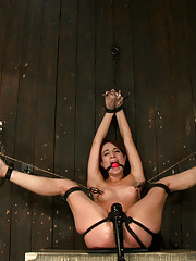 Flexible whore is spread wide with evil foot torture, sadistic impact, and brutal nipple torment