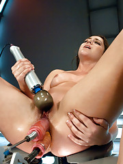 Luscious pear shaped ass, perky 23 year old natural tits and doe eyes that squeeze tight as she cums from hardcore robot ass fucking!