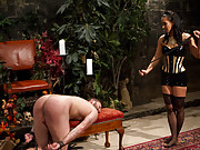 Isis Love uses Michael Bridalveil for sadistic pleasure: pussy licking, pussy fucking, foot worship, ass licking, caning, CBT, flogging, & whipping.