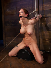 Rain DeGrey is destroyed on the Sybian! Extreme nipple torment, brutal gag, a devastating skull fucking all while being made to cum her brains out!
