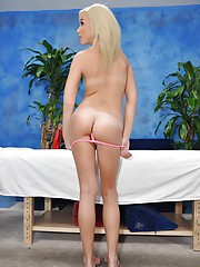 Hot and sexy blonde 18 year old Kaylee gets fucked hard from behind by her massage therapist
