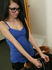 Teen kaci in glasses gives a big cock a tug job