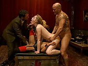 a beautiful house guest decides to challenge both slaves and jumps on Derricks cock while they are both busy eating each others pussies