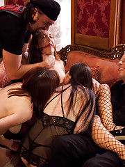 Kinky couples enjoy corporal, blowjobs, bondage, and a good fuck on this opulent afternoon brunch.