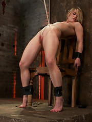 Sexy Mid Western girl gets the chair treatment. Severely gagged, flogged, clamped, a crotch rope arching her back with devastating multiple orgasms!