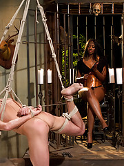 Gorgeous black dominatrix Nyomi Banxxx tramples and smothers cute slaveboy with her large round fat ass and fucking him helpless!