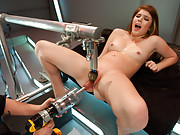 20 yr old fresh face amateur straddles new machines for a fucking like she has never had before - her worked pussy drips creamy cum.