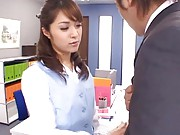 Mihiro Asian slutty licks the boss´ nipples in his own office