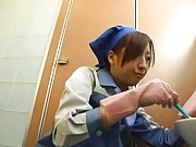 Japanese AV Model stops from cleaning toilet to suck man phallus
