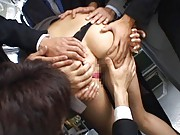 Nao Yoshizaki Asian gets her peach rubbed with thong by studs