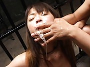 Asuka Sawaguchi the officer is punished by the dudes behind bars