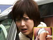 Nana Natsume Asian is fingered in peach while she has a car trip