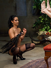 FemDom Isis Love gives slave a dose of CBT & CFNM by kicking his balls with her stocking feet and thighs then fucks his cock for her enjoyment!