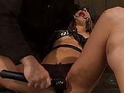 Amy Brooke gets bound, molested, double penetrated, whipped, spanked hard, fucked harder. She is gagged and made to squirt gallons until she cums.