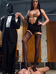 Gorgeous, hard body dominatrix humiliates and cuckolds her pathetic slave in chastity.