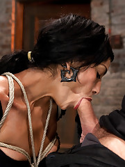 Hot MILF with amazing body is brutally face fucked, bound, stripped, manhandled, hair tied and made to cum over and over on the floor, left to suffer!