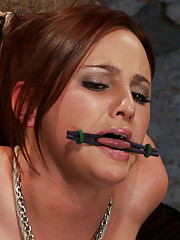 20 yr old suffers tight bondage, flogging, & brutal orgasms.  Elbows tied together and strappado