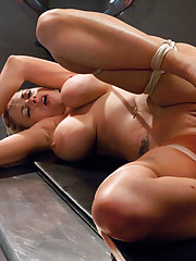 Big tits sucked in alien suction cups, blond babe fucked by tentacle machines in bondage.