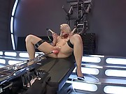 Tanned and sexy blond taken to the limit of her pussy by machines and even is convinced to try a little toy in her ass for a hot DP finish.
