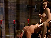 Devastatingly beautiful femdom skillfully humiliates muscle bound slave meat and uses his cock for pleasureful orgasms.