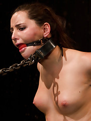 Skydiving slut, Hope, is tormented and fucked. Bound in metal, chained onto a sybian. Restrained and made to cum.