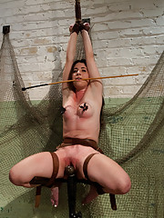 Innocent brunette and hot blond combo. Supple Serena, used, abused, ass fucked, whipped hard. Boisterous Rylie is hung up and made to squirt all over.