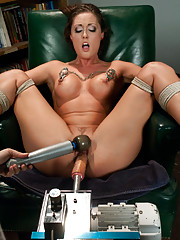 Cold Steel falls in love: Melissa Jacobs charms machines as they absolutely ravage her pussy. She does it all:bondage,mechanical hairpulling, squirts!