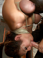 Hot Asian has her huge tits bound tight, clamps, weights added to her big nipples. Made to cum while being throat fucked. Then bowling-balled to hell!