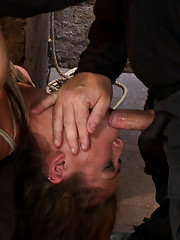 Part 4/4 of Augusts Live Show:  Audrey has suffered though 3 brutal scenes without a break, now she gets brutally fucked by Isis while face fucked.