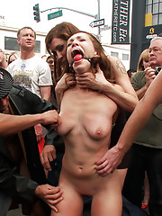 Audrey Rose becomes the Folsom Street Fair whore being paraded around naked, flogged, zippered, spit upon, groped, and fucked by strangers.