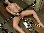 Fucked until her gaping pussy drips cum and she is stuttering. Andy San Dimas takes on the sex machines and loses.