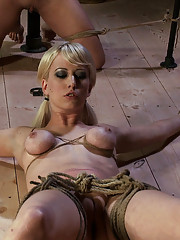 Amazing 3 girl shoot! Brutal bondage. Massive orgasms. Great corporal punishment. Tight tit bondage, Category 5 suspension tied into to all 3 girls!